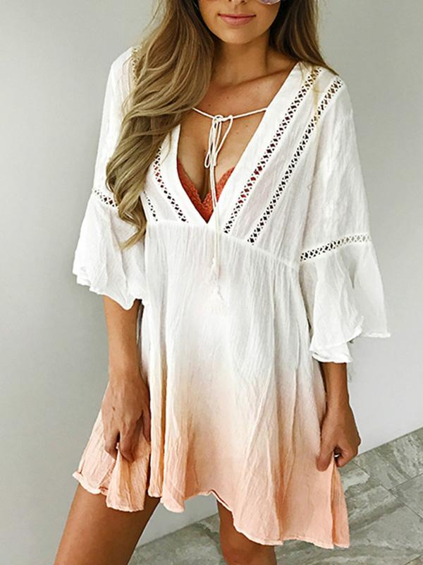V-neck 3\/4 Sleeves Gradient Bohemia Mini Dress CREAMY WHITE S