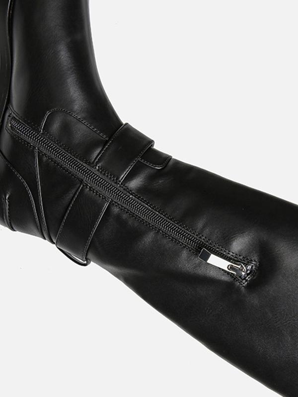 Solid Side-zipper Low Heels Leather Knee Boots BLACK 39