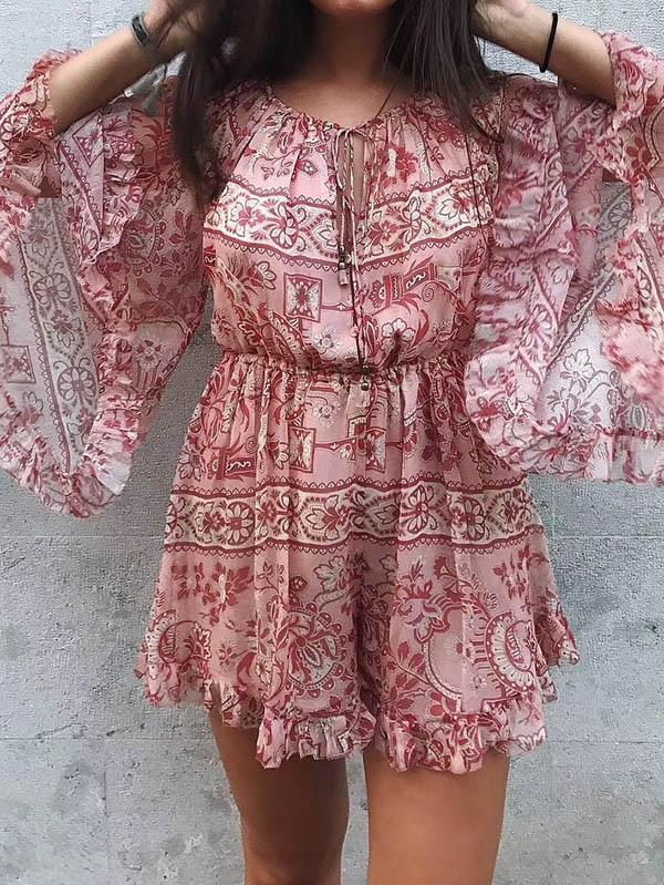 Printed Chiffon Flare Sleeves Jumpsuits RED L