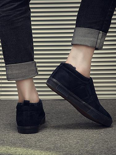 Warm Solid Color Loafers BLACK 43