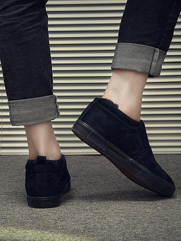 Image of Warm Solid Color Loafers BLACK 43