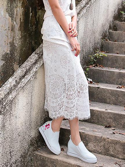 Embroidered Peep-toe Slides Shoes WHITE 37