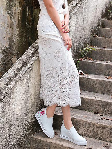 Image of Embroidered Peep-toe Slides Shoes WHITE 37