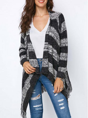 Image of Fashion Knitting Tassels Striped Sweater BLACK S
