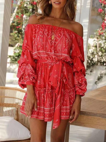 Off-the-shoulder Bandage Long Sleeve Mini Dress S