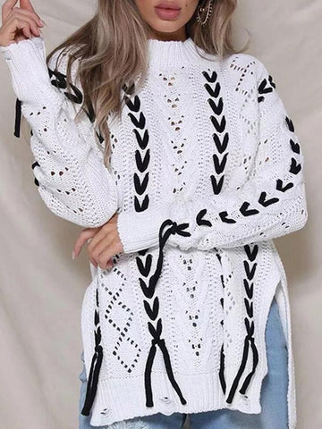 Image of Tassels Hollow Knitting Sweater Tops WHITE FREE SIZE