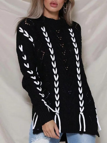 Image of Tassels Hollow Knitting Sweater Tops BLACK FREE SIZE
