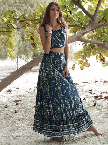 Image of Floral Printed Summer Two-piece Suits BLUE 2XL