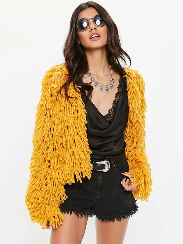 Knitting Solid Color Hollow Tasseled Long Sleeve Tops YELLOW