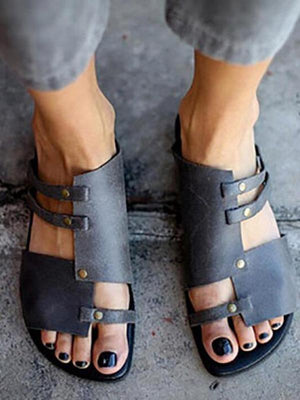 Causal Low Heel Beach Flat Sandals DEEP GRAY 35