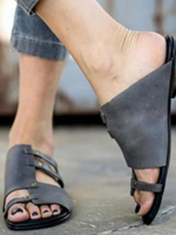 Image of Causal Low Heel Beach Flat Sandals DEEP GRAY 40