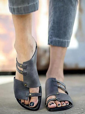 Causal Low Heel Beach Flat Sandals DEEP GRAY 37