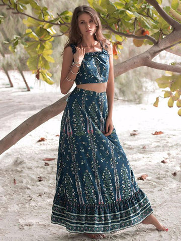 Image of Floral Printed Summer Two-piece Suits BLUE L