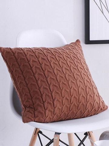 Image of Dooerzi Solid Knitted Textured Pillow Case