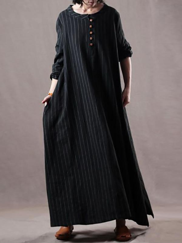 Plus Size Loose Black Striped Long Dress BLACK M