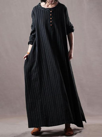 Image of Plus Size Loose Black Striped Long Dress BLACK M