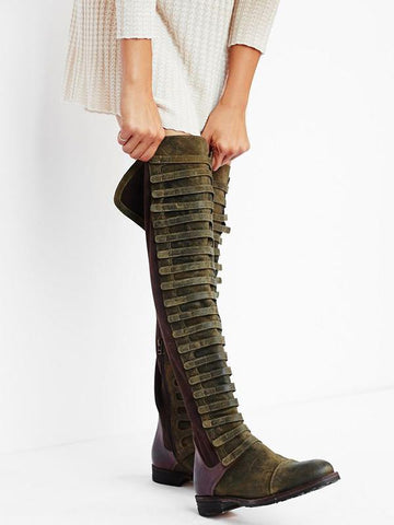 Image of Bandage Frosted Zipper Thigh-high Chelsea Boots Shoes 38