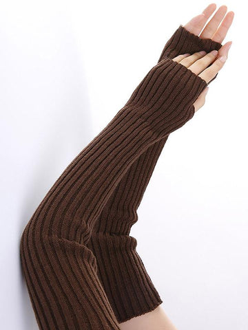 Knitted Solid Color Sleevelet Accessories YELLOW