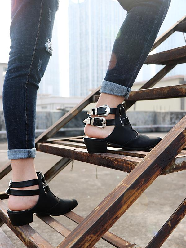 Fashion Double Buckle Pointed Shoes BLACK 42