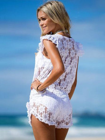 Lace Falbala Deep V-Neck Short Jumpsuits WHITE XL