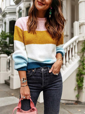 Fashion Knitting Striped Sweater Tops ORANGE S
