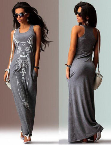 Cat Printed Straps Sleeveless Maxi Dress GRAY L