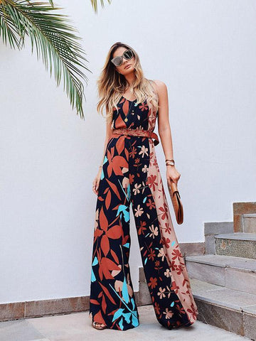 Floral Spaghetti-neck Wide Leg Long Jumpsuits M