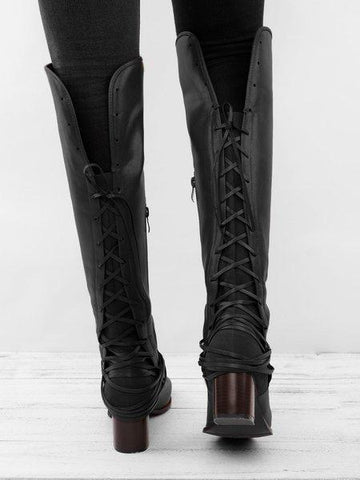 Image of Chunky Tassels Bandage Knee High Boots BLACK 40