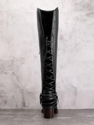Chunky Tassels Bandage Knee High Boots BLACK 39