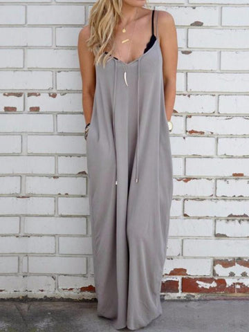 Simple Loose Condole Belted Maxi Dress GRAY S