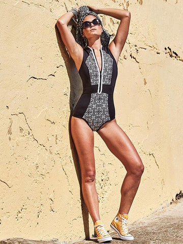 Image of Vintage Zipper Printed One-piece Swimwear BLACK XL