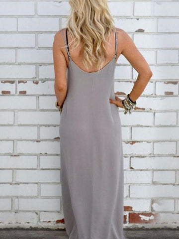 Simple Loose Condole Belted Maxi Dress GRAY L