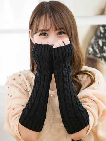 Long Warmer Solid Color Half-finger Wrist Gloves Accessories BLACK