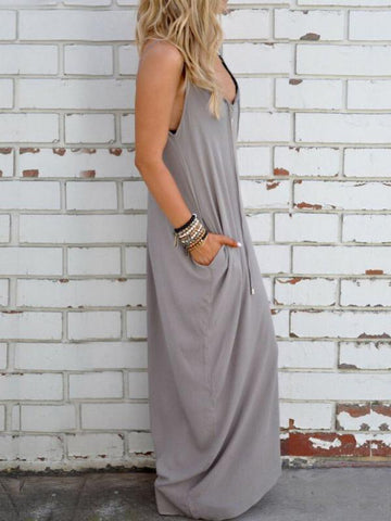 Simple Loose Condole Belted Maxi Dress GRAY M