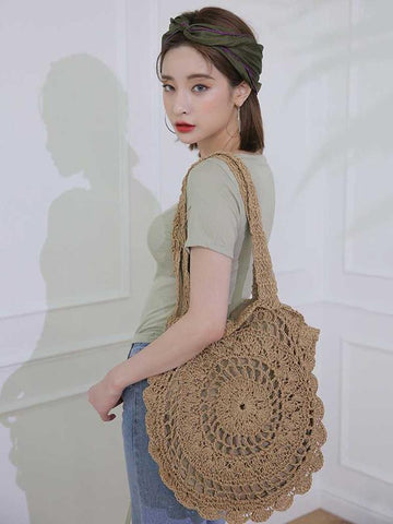 Crochetting Flower Knitting Bohemia Bag LIGHT BROWN FREE SIZE
