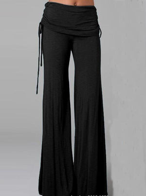 Simple Solid Color Wide Leg Long Pant BLACK S