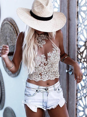 Sexy Lace Halter Straps with Zipper Small T-Shirt Tops GOLD S
