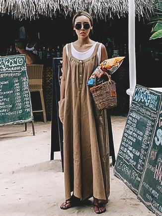 Image of Loose Comfortable Cotton Jumpsuit COFFEE S