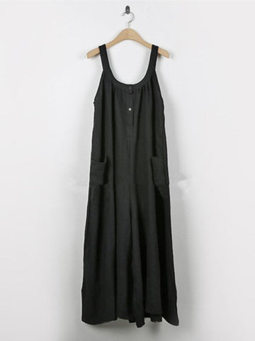 Image of Loose Comfortable Cotton Jumpsuit COFFEE L