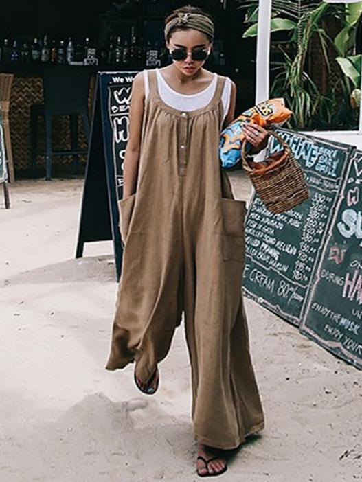 Loose Comfortable Cotton Jumpsuit COFFEE M