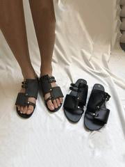 Image of Causal Low Heel Beach Flat Sandals BLACK 35
