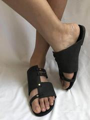 Causal Low Heel Beach Flat Sandals DEEP GRAY 39
