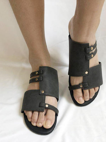Causal Low Heel Beach Flat Sandals DEEP GRAY 41