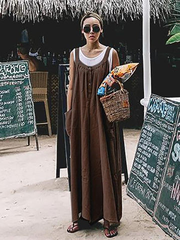Image of Loose Comfortable Cotton Jumpsuit KHAKI M