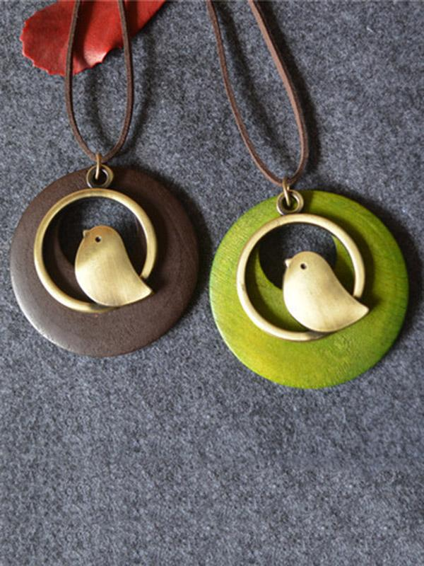 Cute Bird Shape Necklaces Accessories COFFEE FREE SIZE