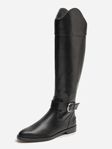 Image of Solid Side-zipper Low Heels Leather Knee Boots BLACK 37
