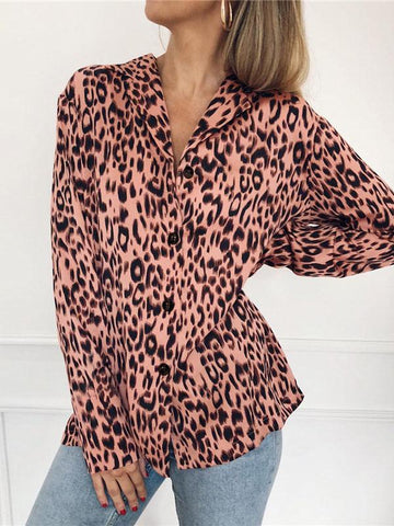 Image of V-neck Leopard Bohemia Blouse Top PINK 2XL