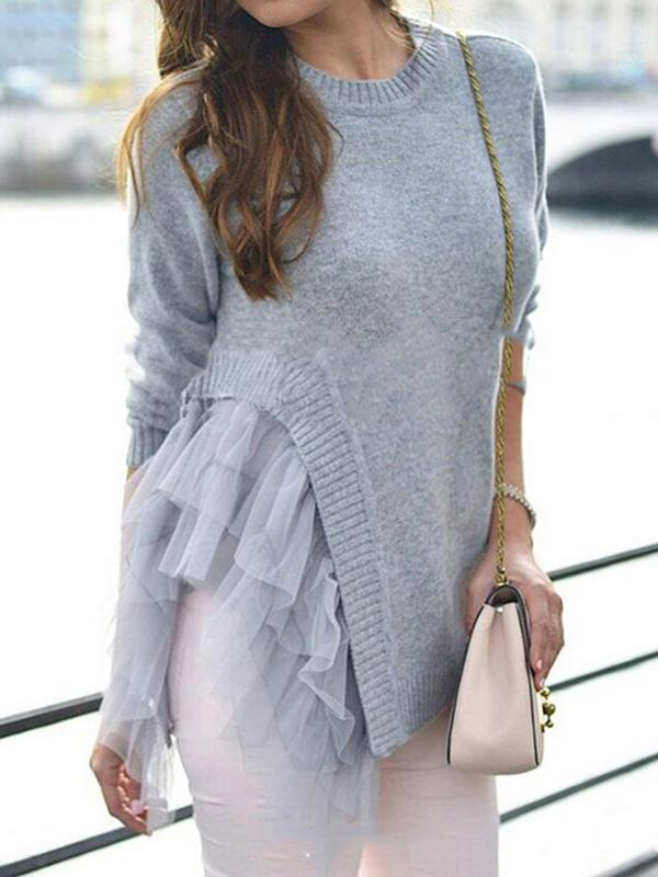Irregular Gauze Split-joint Sweater GRAY M