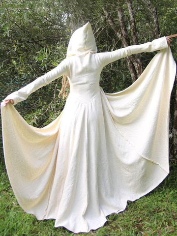 Hooded Bandage Medieval Cape Outwear WHITE M