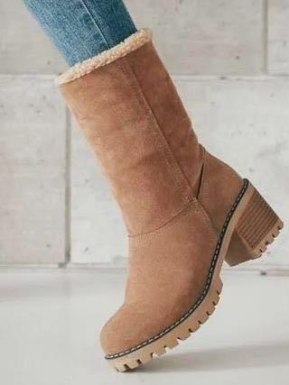 Chunky Mid Calf Winter\u0026Snow Boots BLACK 39